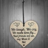 Red Ocean Best Friends My Mum & Me Wooden Hanging Heart Plaque Mothers Love Plaque Gift