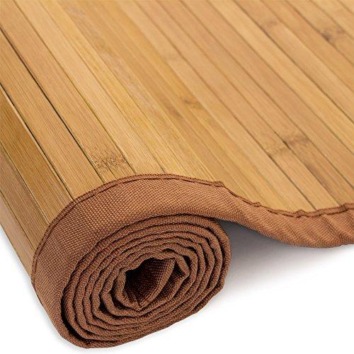 Homestyle4u 205, Bambusteppich Braun, Bambusmatte rutschfest Mit Bordüre, 180 x 240 cm
