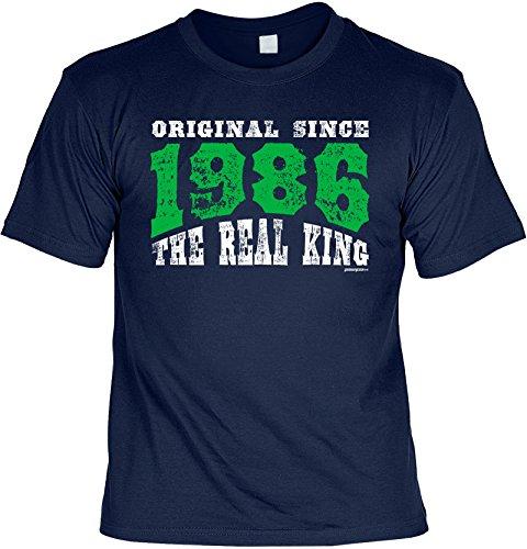 Jahrgangs-Shirt / Spaß-Shirt : Original Since 1986 The Real King - geniales Geschenk für einen lieben Menschen Navy-Blau
