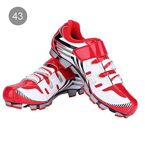 Alomejor Zapatillas de Ciclismo Antideslizantes para Hombre de 1 par de Zapatillas para Ciclismo de montaña MTB(43-Red)