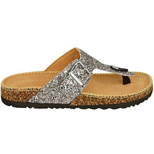 Sandales plates pour femmes à enfiler Argenté A Paillettes
