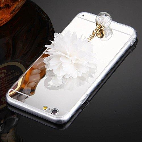 Wkae Case Cover Für iPhone 6 &6s Blumen-Ketten-Anhänger-TPU-Schutzhülle ( Color : Silver ) Silver