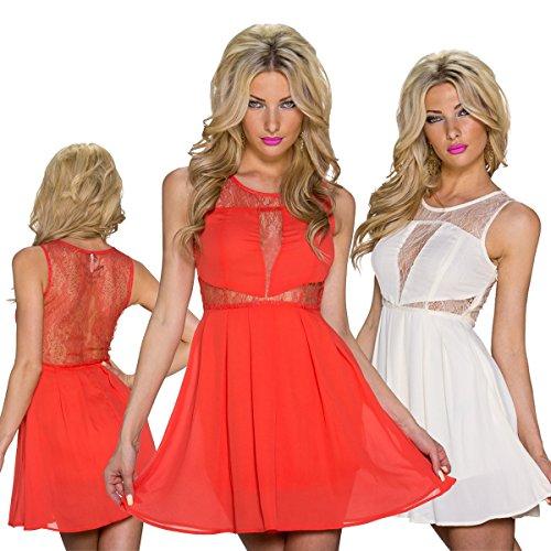 Fashion4Young 5795 femme sans manche pour la fête-robe en chiffon élégante robe de soirée en chiffon disponibles Orange - Orange