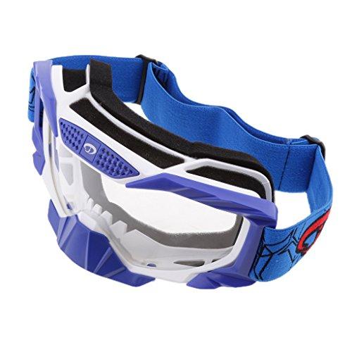 MagiDeal 1 Stück Winddichte Brille UV400 Schutz mit Verstellbares Gummiband und Helm Kopf und Gesichtsbedeckungen - Blau