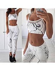 YN Casual chaleco deportivo pantalones conjunto malla patch pantalones chaleco correa conjunto de yoga - blanco l