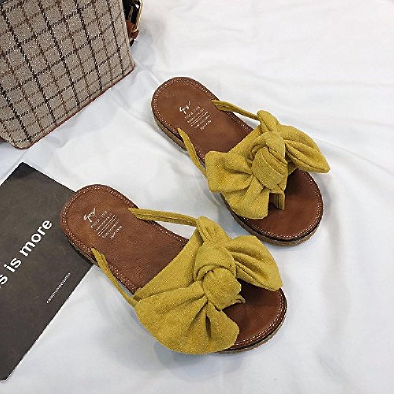 ittxtti nouvelles sandales été femmes sauvages tong femmes - - femmes mode plat tong sandales, 35, jaune 8c46d7