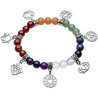 JOVIVI Schmuck, Natürlich Stein Armband 7 Chakra Symbol Anhänger Balance Armreif Reiki-Therapie Yoga-Armband preisvergleich bei billige-tabletten.eu