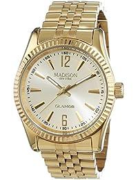 MADISON NEW YORK Unisex-Armbanduhr GLAMOR Analog Quarz Edelstahl beschichtet L4791D1