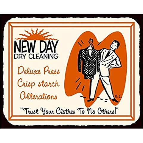 Nuovo Giorno Dry pulizia biancheria in metallo vintage retro latta metallo Tin Sign 7x 10segni in metallo vintage