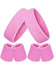 Bememo 6 Stück Gestreifte Schweißbänder Set, Enthält 2 Stück Sport Stirnband und 4 Stück Armbänder Schweißbänder Bunte Baumwolle Gestreiften Schweißband Set für Männer und Damen