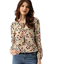 POISON IVY Women's Casual Full Sleeve Floral Print Women's Multicolor Beige Top …