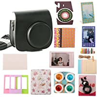 Woodmin 12-in-1 Accessori Bundle Set per Fujifilm Instax Mini fotocamera da 8 Nero (Mini 8 caso / Foto Bag / album / Frames / Adesivi / selfie-Lens / Filtri)