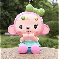 Preisvergleich für Heylookhere Sparschwein-Bank Crown Monkey Piggy Bank bruchsicher Harz Ornamente Geburtstagsgeschenk (Girl Monkey)