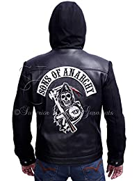 Sons of Anarchy Black Hooded Synthetic Leather Jacket
