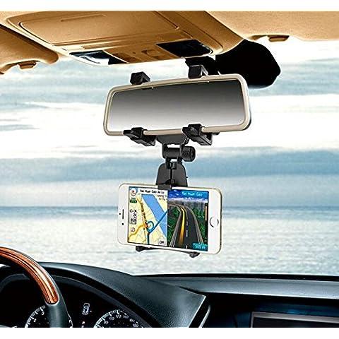 Eximtrade Universal Auto Coche Celular Teléfonos Soporte Espejo Retrovisor para Apple iPhone 4/4s/5/5s/6/6s/6 Plus/6s Plus, Samsung Galaxy S4/S5/S6/S6 Edge/S6 Edge Plus/S7 Edge/Note 3/Note 4/Note 5, HTC One, Motorola, Sony Xperia, Otro Smartphones