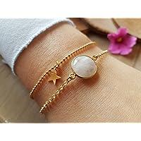 Mondstein Armkette 925 vergoldet