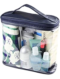 HOYOFO Unisex Clear PVC Makeup Tote Bag Travel Toiletry Organizer Leather Handle
