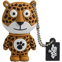 Tribe FD001435 Animals (Animali) The Originals Pendrive 8 GB Simpatiche Chiavette USB Flash Drive 2.0 Memory Stick Archiviazione Dati, Portachiavi, Edward il Leopardo, Arancio