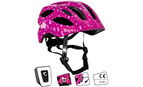 Crazy Safety Kids Bike Helmet With USB light - Toddler to Youth Size | Size 54-58 |Beautiful Bicycle Helmet For Boys & Girls | Rechargeable Built-in LED Light | Reflective Straps | CE Certified