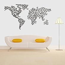 bber wall sticker creative carte du monde gomtrique supprime autocollant de dcoration chambre - Maison Du Monde Tete De Lit