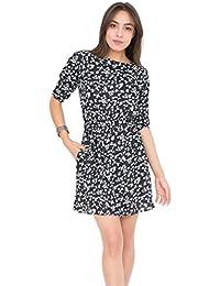 likemary Skater Dress In Floral Print Black