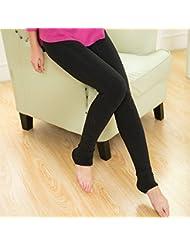&zhou Invierno pantalones caliente blanco gris carbón más mujeres polainas de terciopelo , gray , thickening