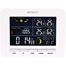 Anself - 433MHz LCD Reloj Meteorológico Estación Digital Inalámbrica de Exterior Interior, Termómetro Higrómetro Barómetro con Funciones de Alarma Snooze Calendario
