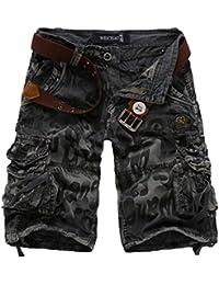 Elonglin Hommes Shorts Bermudas Cargo Outdoor Coton Casual Eté Cargo Shorts Bermuda Pantacourt Camouflage sans Ceinture