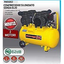 Compresor 50 LT silenciado en seco 2 motores Italy 8 Bar 1,5 HP Italy