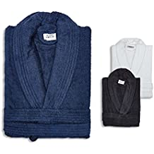 Premier cama, mayor comodidad 100% rizo de algodón de cuello adultos albornoz bata, blanco, grande, talla única, para hombre y mujer