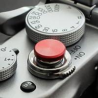 Auslöseknopf aus Aluminium in Rot (flach gerillt, 10mm) für Leica M-Serie, Fuji X100, X100S, X100T, X100F, X10, X20, X30, X-T2, X-T10, X-T20, X-Pro1, X-Pro2, X-E1, X-E2, X-E2S und die meisten Kameras mit Drahtauslöser-Gewinde, innerhalb von 24 Stunden versandbereit