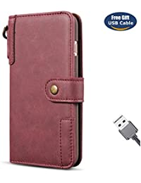 Funda iPhone 6S Plus,Funda Cover iPhone 6 Plus,Aireratze Slim Case de Estilo Billetera Carcasa Libro de Cuero,Carcasa PU Leather Con TPU Silicona Material retro de cuero de vaca con [Correa de mano] Case Interna Suave [Función de Soporte] [Ranuras para Tarjetas y Billetera] [Cierre Magnético] para Apple iPhone 6S Plus/iPhone 6 Plus (rojo) (+ Cable USB)