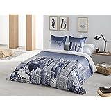 Textilhome - Juego de funda nórdica estampada NEW YORK Cama 105 cm. Color Azul