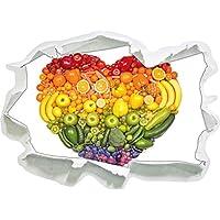 Frutta arcobaleno cuore, di carta 3D autoadesivo della parete formato: 62x45 cm decorazione della parete 3D Wall Stickers parete decalcomanie
