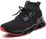 TSIODFO Springblade Sports Sneakers for Men Mesh Breathable Fashion Youth Big Boys Trail Walking Shoes Black W