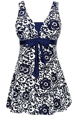 Labelar Women's One-Piece Push Up Swimsuit Vintage Sailor Dress