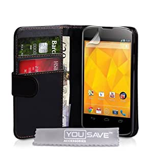 Yousave Accessories PU Leather Wallet Cover Case for Nexus 4 - Black