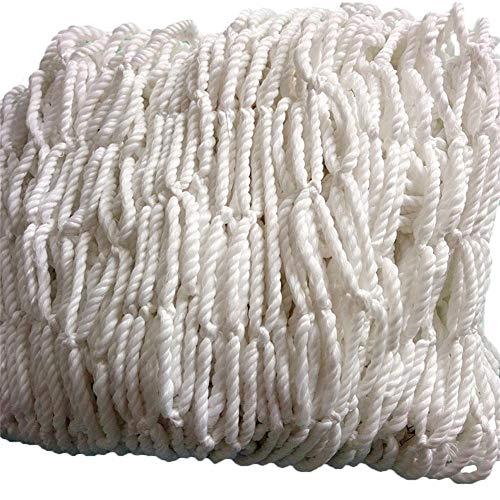 Biback Tragbares Netz für den Außenbereich und Garten mit verrottungssicherem Netz, Reparaturseil & Schnürband, weißer Schnur für Anhänger, Netzbehälter, Sicherheitsnetz, Kletternetz, Ladungsnetz