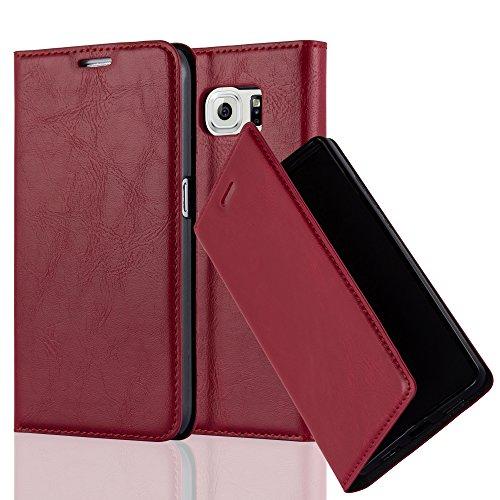 Cadorabo Hülle für Samsung Galaxy S6 - Hülle in Apfel ROT – Handyhülle mit Magnetverschluss, Standfunktion und Kartenfach - Case Cover Schutzhülle Etui Tasche Book Klapp Style