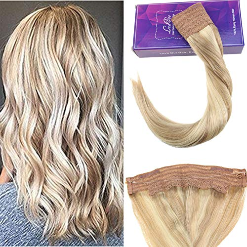 0Gr Double Weft Echthaartresse Mit Secret Wire Halo Hair Extensions Echthaar Halo Remy Naturlich Highlight Aschblond Mischen Gebleichtes Blond #18/613 ()