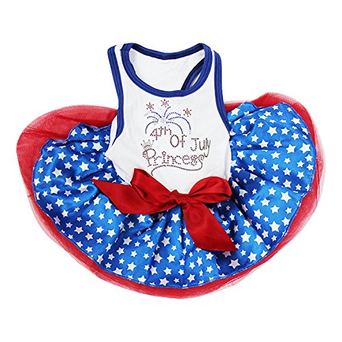 Kirei Sui Strass 4. Juli Princess Blue Stars Pets Tutu Kleid, L, - Blue Star Princess Kostüm