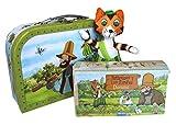 Geschenkset Pettersson und Findus -Spielzeugkoffer/Reisekoffer: Kinderkoffer, Plüschtier, Holz-Domino