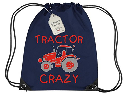 FRENCH NAVY PERSONALISED BOY'S TRACTOR CRAZY GYMSAC with name - Red and Silver/Grey Print - Boy's Gym/PE/Drawsting Bag In French Navy