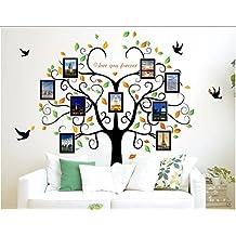 Vinilo Pegatina de pared arbol genealogico y hojas con marcos para fotos familia 2 m x 1.60 m compañeros de clase, abuelos, bisabuelos, sobrinos..regalo perfecto para padres y familia de OPEN BUY