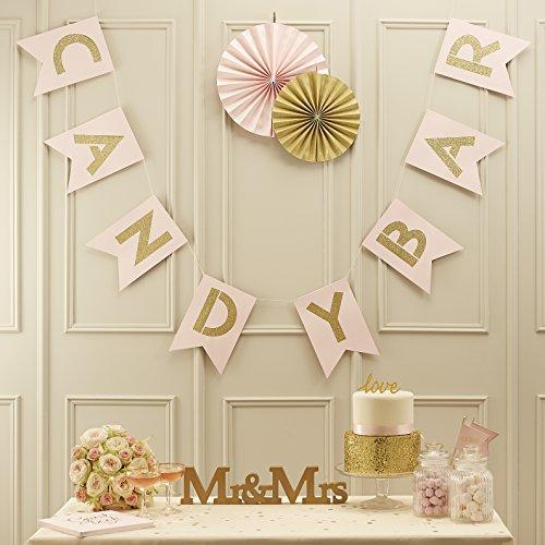 Ginger Ray rosa Pastel y dorado purpurina Candy Bar banderines de boda-Pastel...