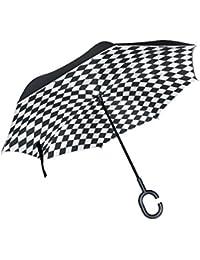 ALAZA Doble Capa invertido paraguas Coches inversa Paraguas Negro y blanco de la prueba de la
