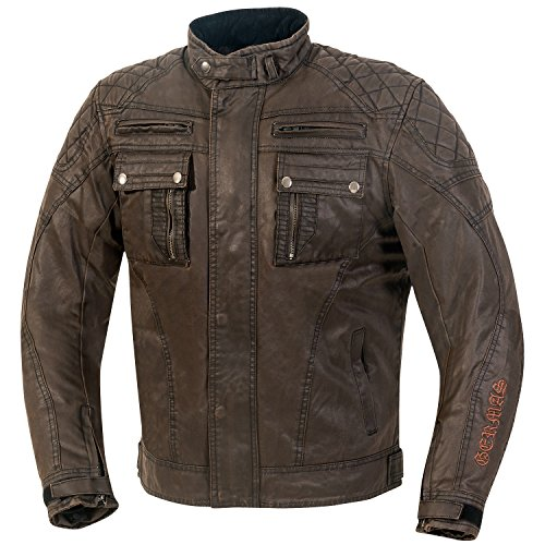 GERMAS Retro/Vintage/Bike Chaqueta/waxcot Ton Austin, color marrón, tamaño M