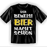 Der Beweis! Bier macht schön Gr M spaßiges Sprüche Tshirt Fb schwarz