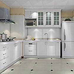 Hot Mueble de Cocina de Primera Calidad Engomada del PVC Auto Rollos de Papel Pintado Adhesivo para Muebles / Cocina / Baño 0.61 * 5M Pegatinas Hoja de Guarnición / Puerta del Armario de pared de Papel, Blanco