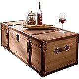"""Mesa de centro """" Truhe"""", madera, marrón, con mucho espacio de almacenamiento, aprox. Ancho 110 x Fondo 50 x Altura 35 cm"""